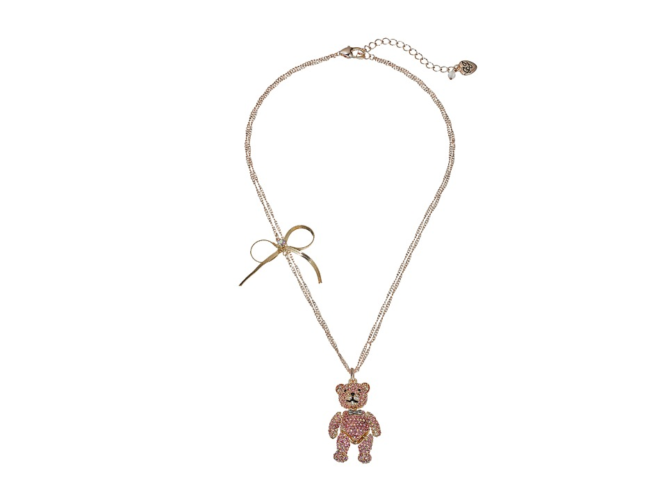 Betsey Johnson - Pave Bear Pendant Necklace (Pink) Necklace