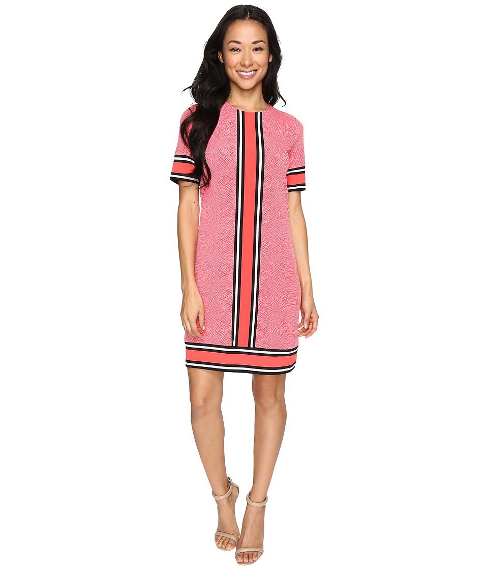 MICHAEL Michael Kors - Short Sleeve Stingray Border Dress (Coral Reef) Women's Dress
