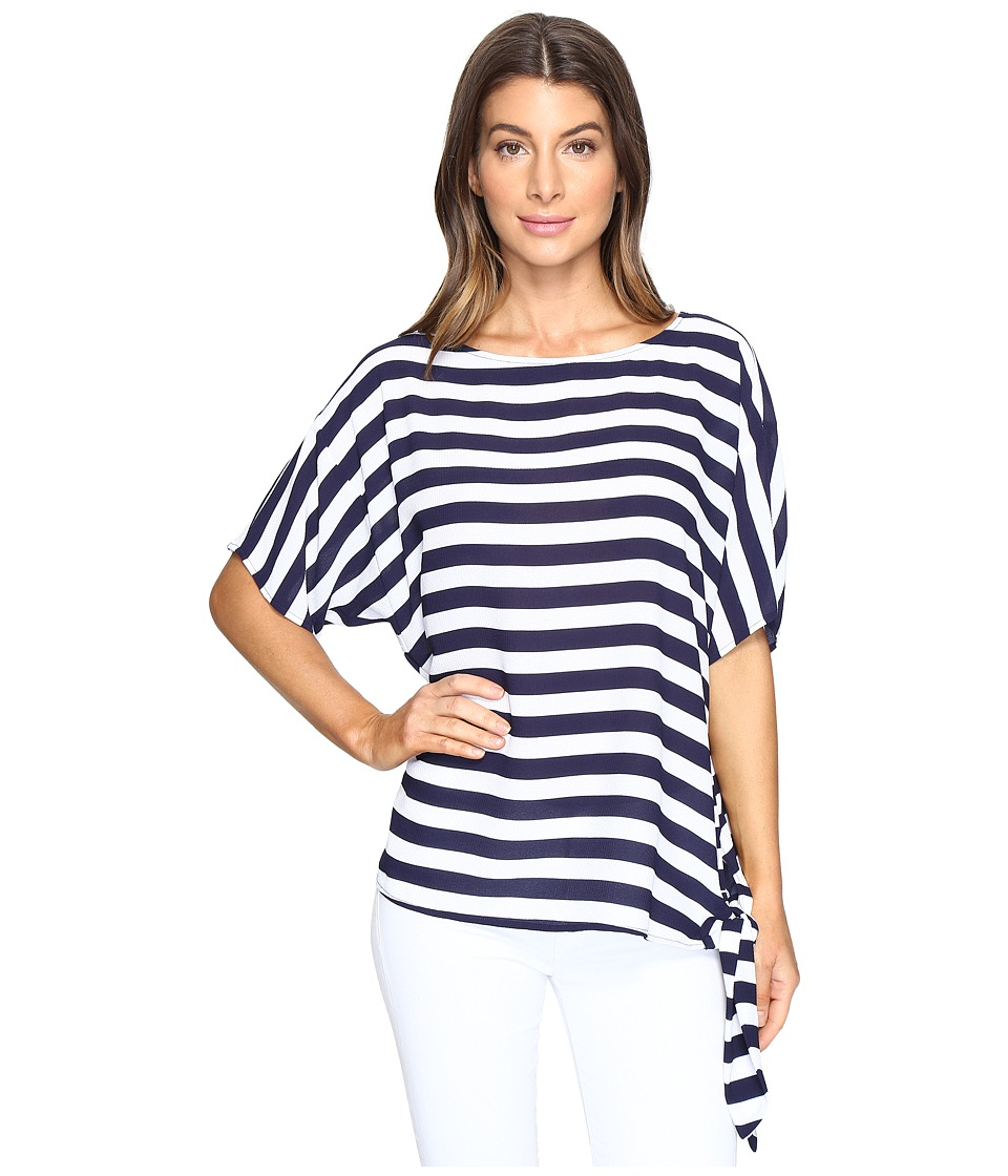 MICHAEL Michael Kors - Graphic Stripe Tie Top (True Navy) Women's Clothing