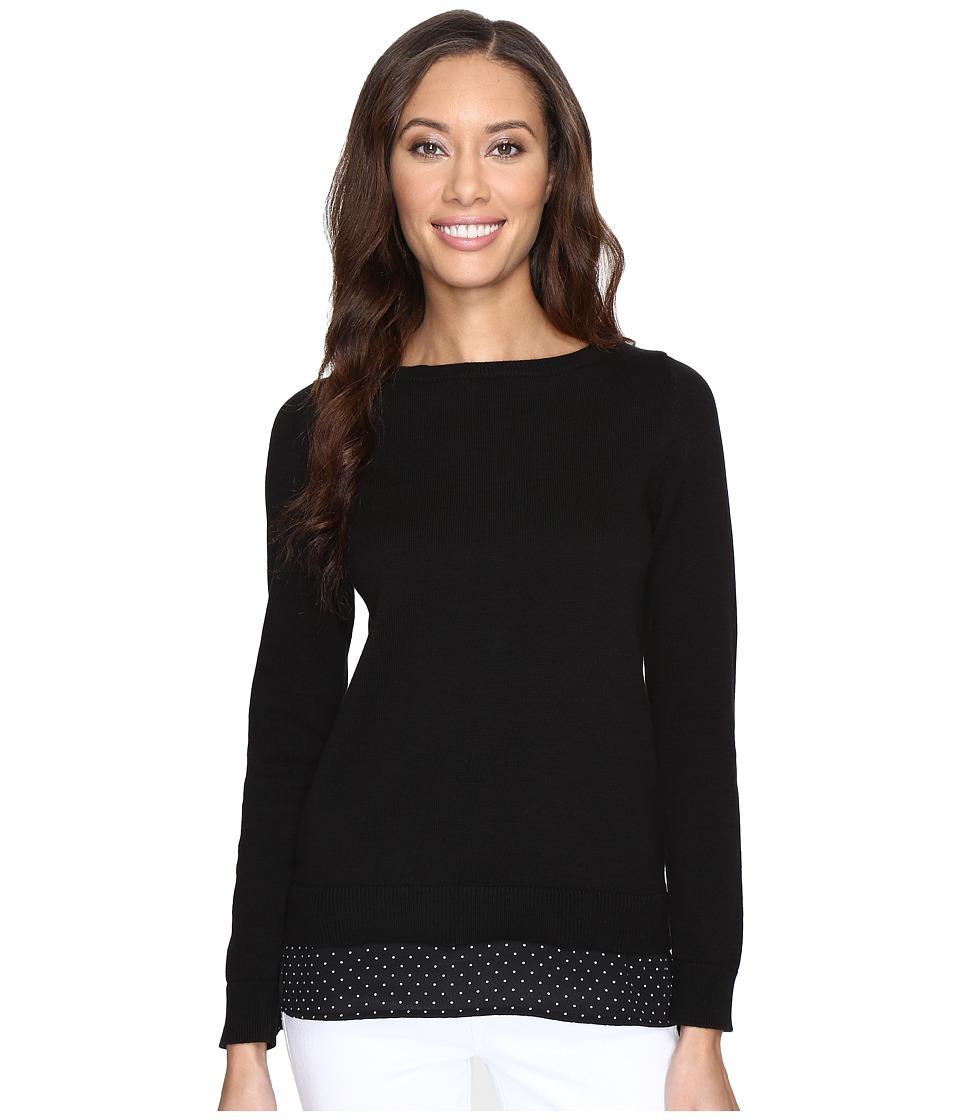 MICHAEL Michael Kors - Long Sleeve Tiny Dot Hem Sweater (Black) Women's Sweater