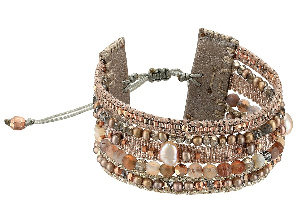 Chan Luu - 7' Multi Strand Grey Mix Single with Fresh Water Pearls, Swarovski Crystals and Nylon Cord Bracelet (Taupe Mix) Bracelet