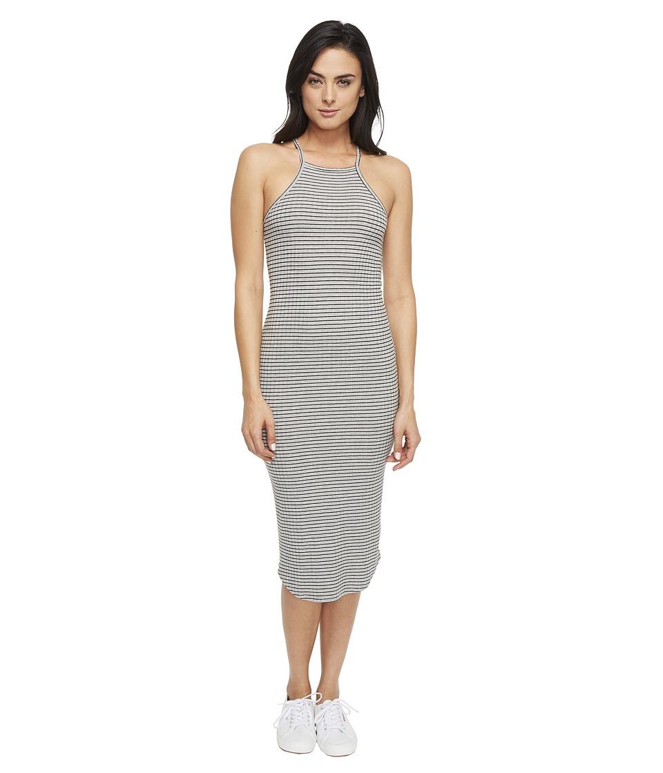 LNA - Square Bib Dress (Grey/Black Stripe) Women's Dress