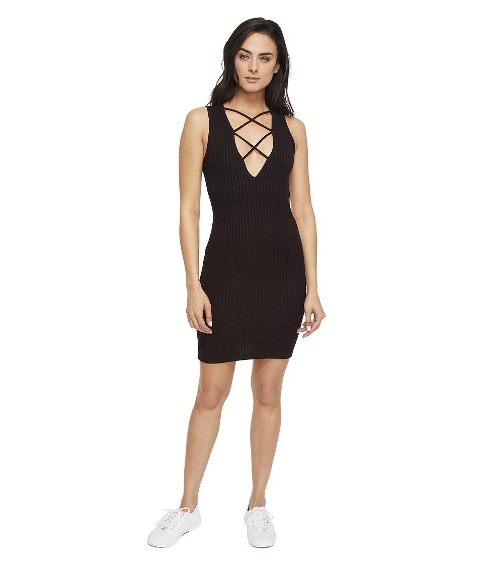 LNA - Lace-Up V Dress (Black) Women's Dress