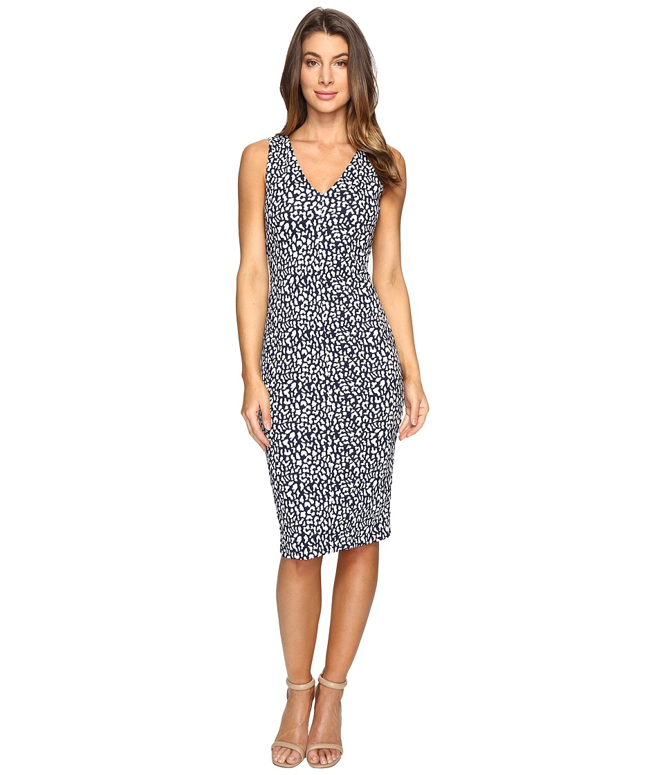 MICHAEL Michael Kors - Sporty Jacquard V-Neck Dress (True Navy) Women's Dress
