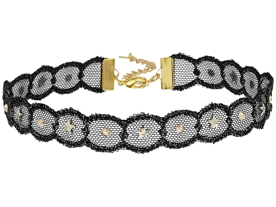 Chan Luu - Adjustable Metallic Lace Crystal Choker Necklace (Metallic Black) Necklace
