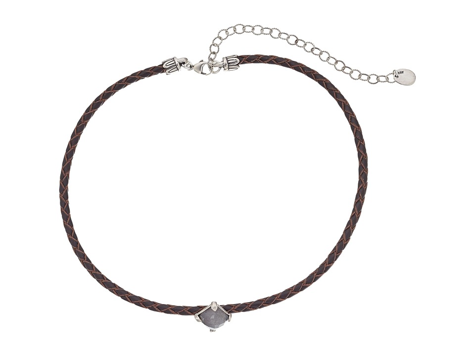 Chan Luu - Adjustable Semi Precious Stone Choker on Leather Necklace (Labradorite/Dark Brown) Necklace