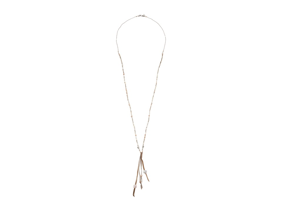 Chan Luu - 32 Necklace with Semi Precious Stones and Ribbon Tassel (Mystic Smokey Mix) Necklace