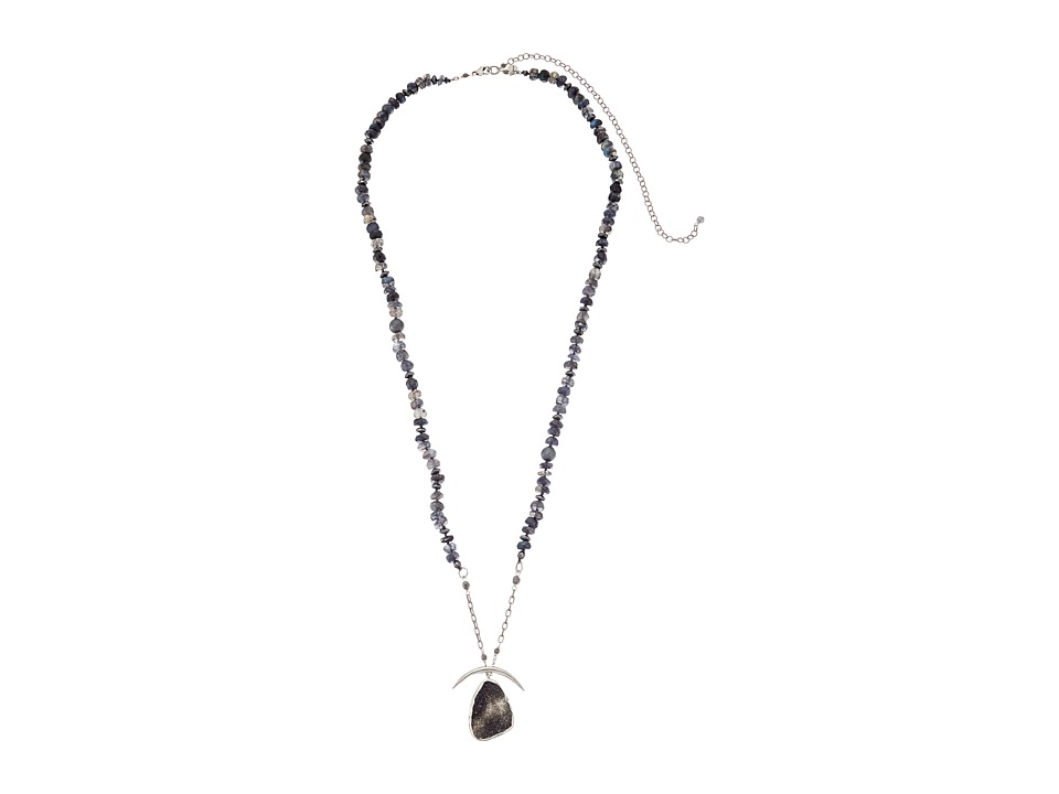 Chan Luu - 30-37' Adjustable Mystic Labradorite Necklace with Druzy Agate Pendant (Blue Labradorite) Necklace