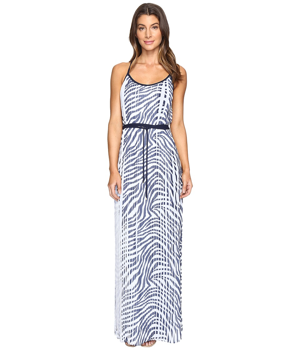 MICHAEL Michael Kors - Plains Zebra Pleat Maxi (True Navy) Women's Dress