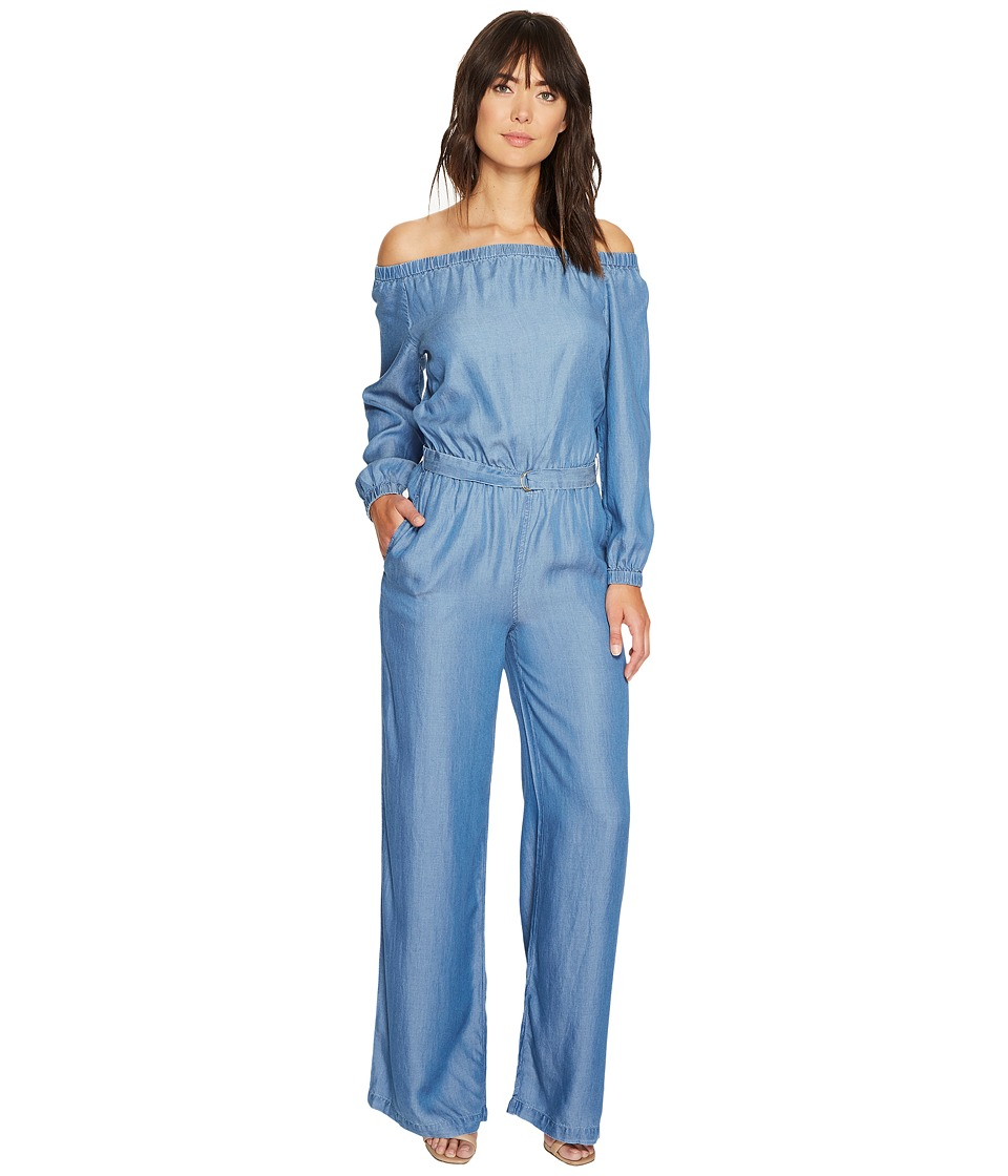 MICHAEL Michael Kors - Tencel Off Shoulder Jumpsuit (Light Cadet Wash) Women's Jumpsuit & Rompers One Piece
