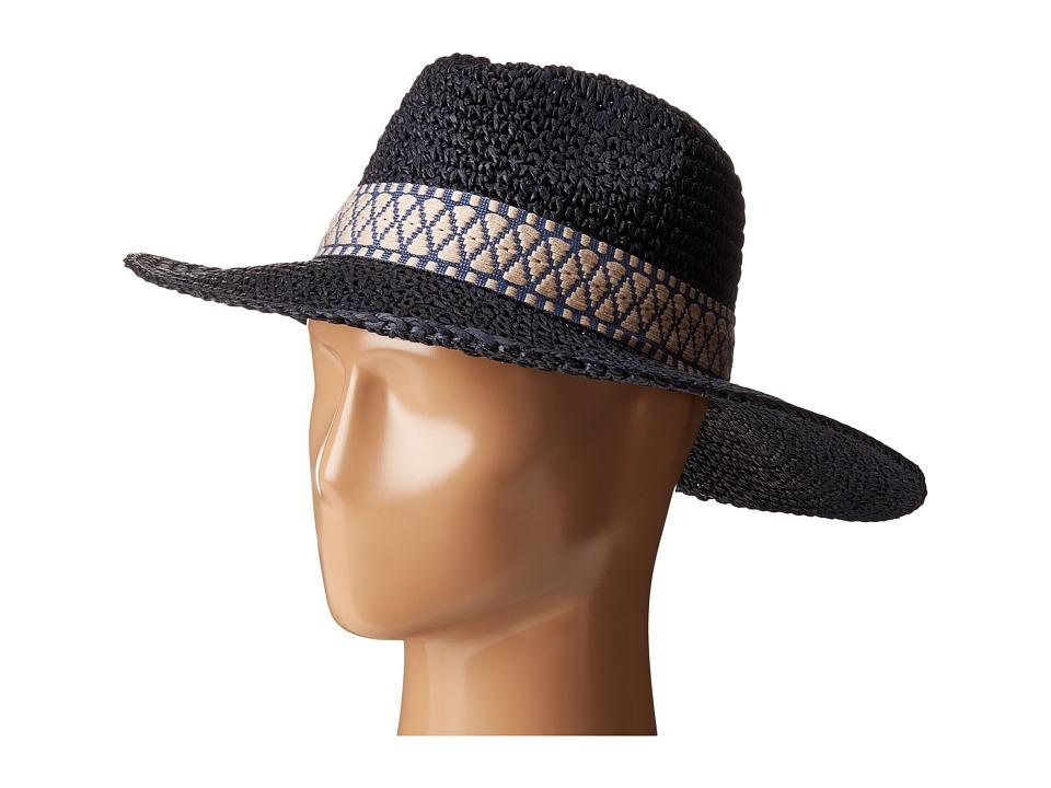 Echo Design - Crochet Panama Beach Hat (Navy) Caps