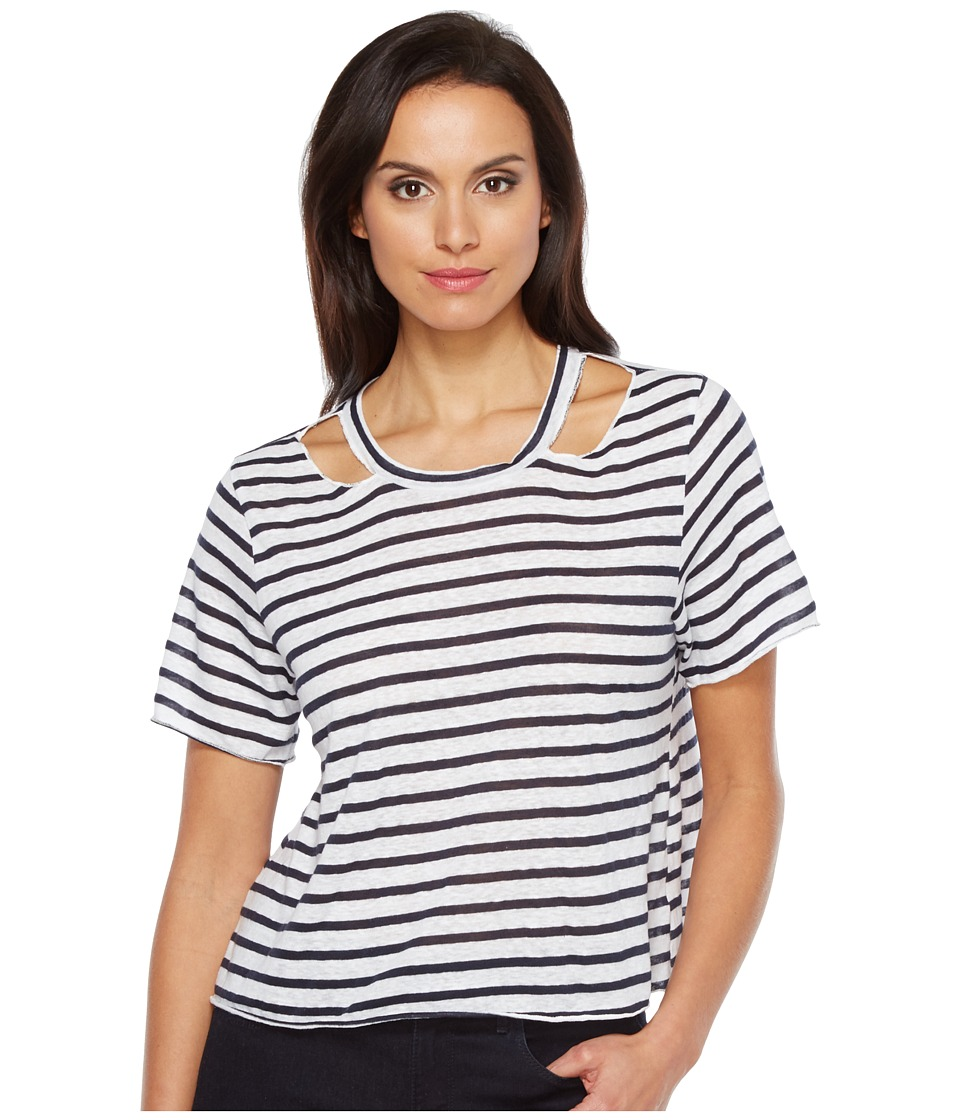 LNA - Stripe Cut Out Crop Tee (White/Navy Stripe) Women's T Shirt