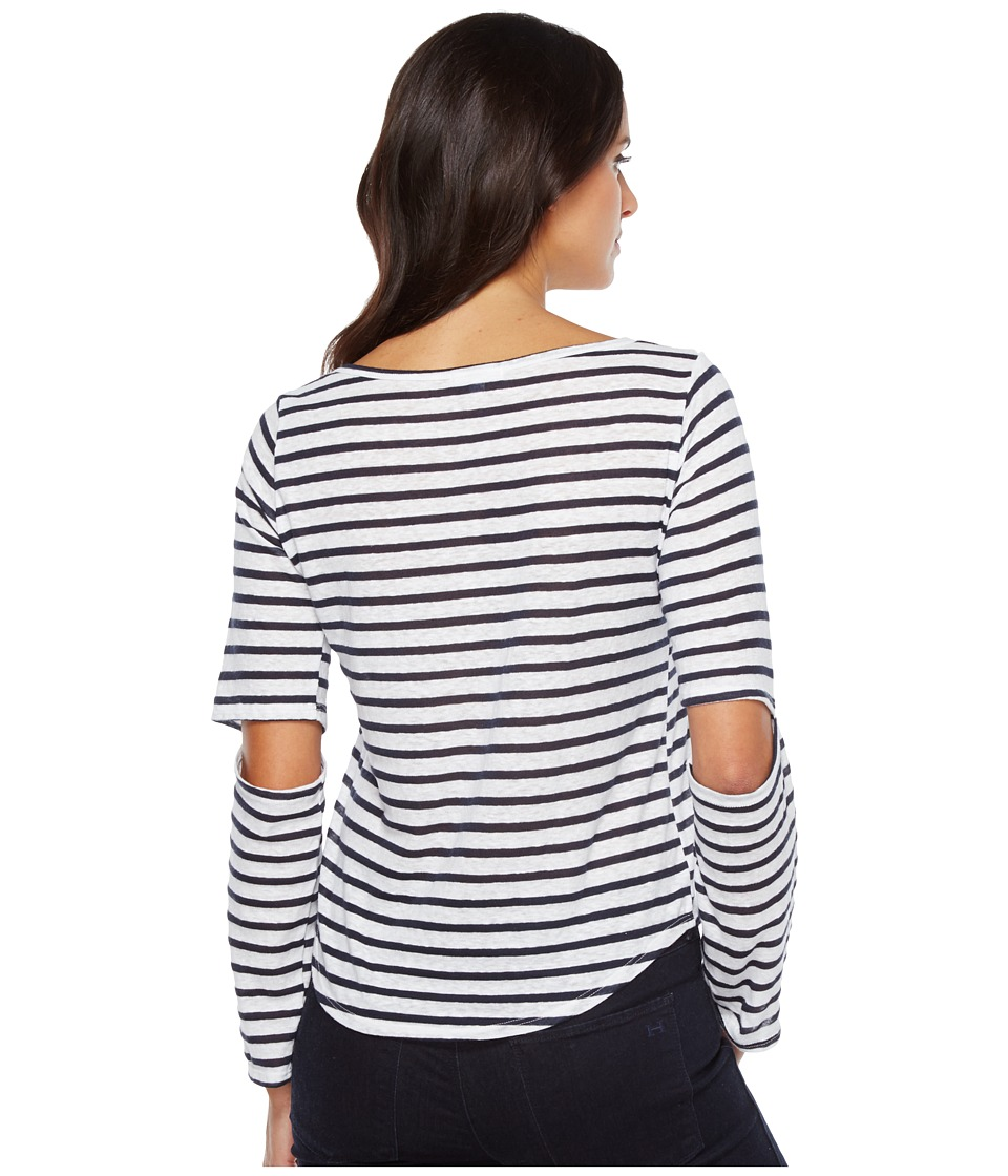 LNA - Odeon Stripe Tee (White/Navy Stripe) Women's T Shirt
