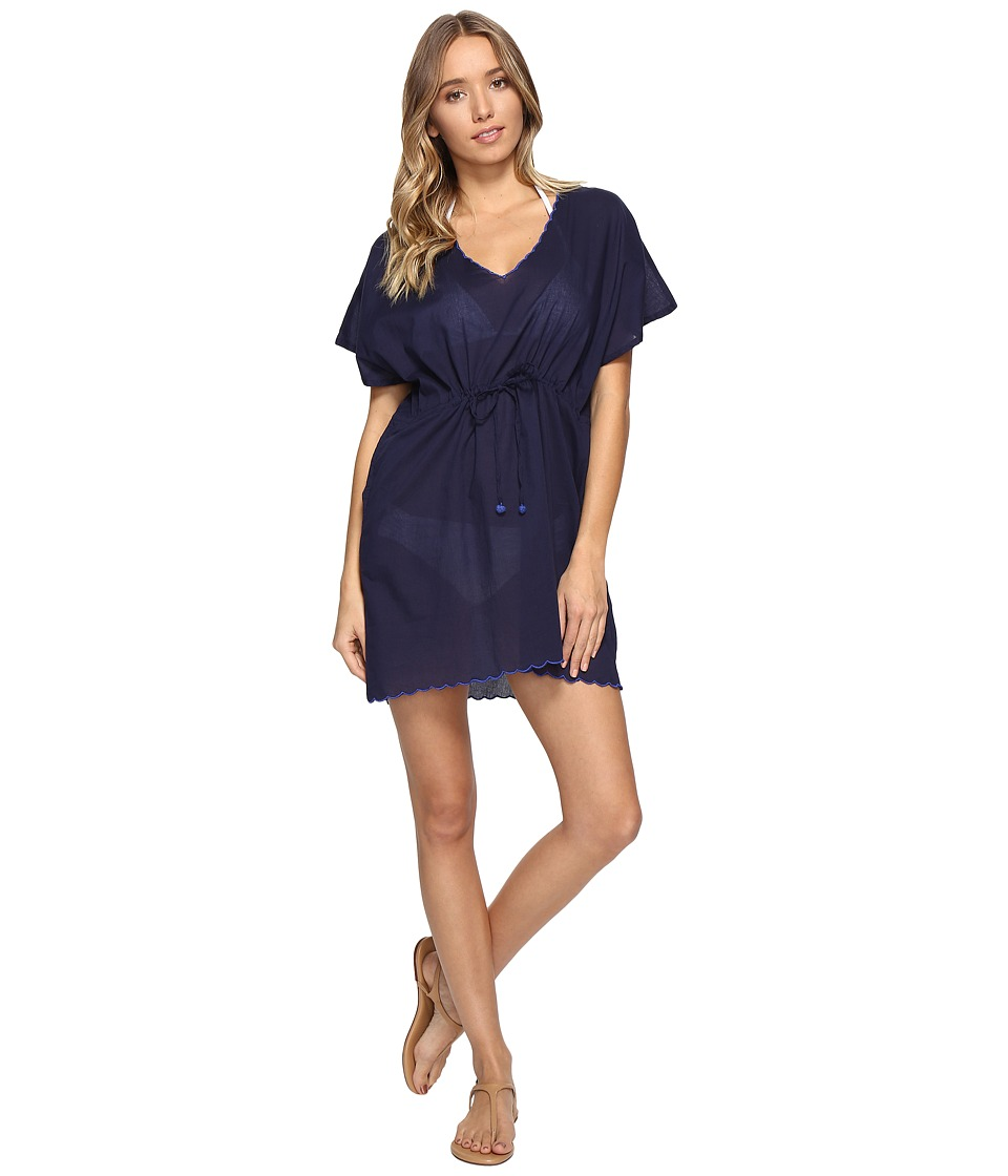 Echo Design Solid Scallop Tunic Cover-Up (Navy) Women