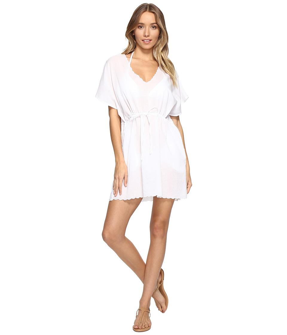 Echo Design - Solid Scallop Tunic Cover-Up (White) Women's Swimwear