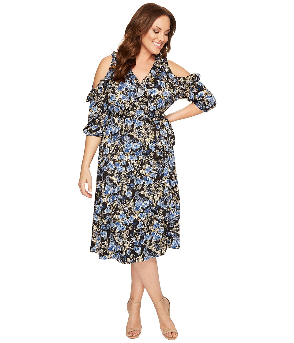 Kiyonna - Barcelona Wrap Dress (Floral Meadow) Women's Dress