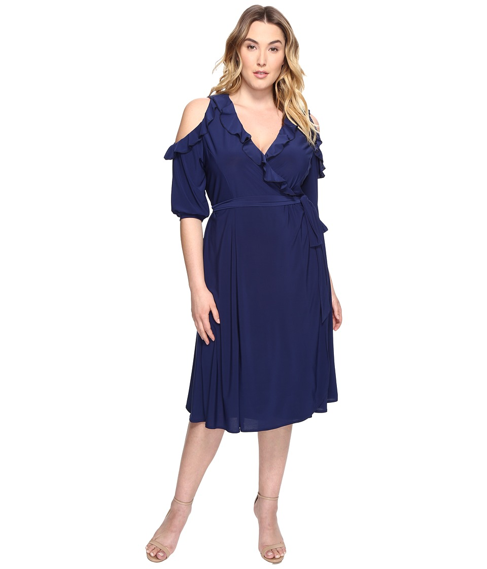Kiyonna - Barcelona Wrap Dress (Navy) Women's Dress