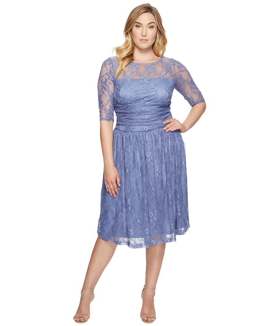 Kiyonna Luna Lace Dress (Slate Blue) Women's Dress