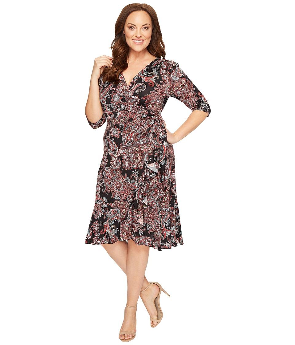 Kiyonna - Flirty Flounce Dress (Black Paisley Print) Women's Dress