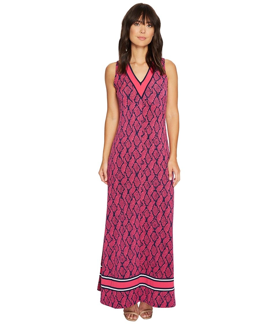 MICHAEL Michael Kors - Mamba Border V-Neck Maxi (Electric Pink) Women's Dress