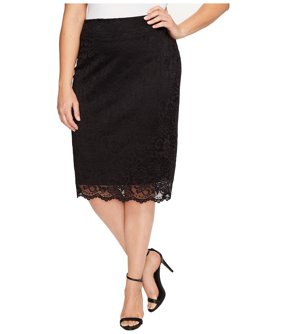 Kiyonna Loren Lace Skirt (Onyx) Women