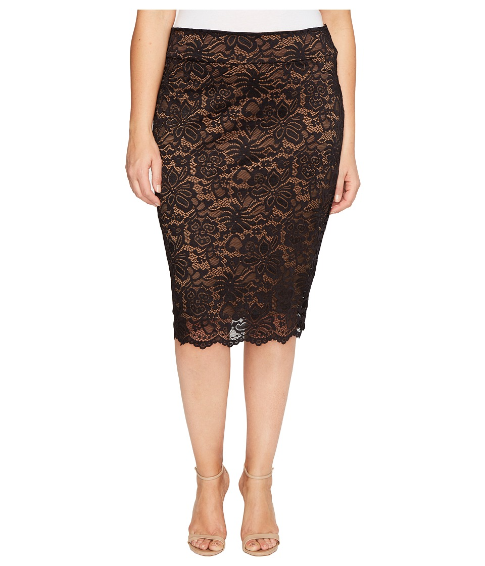 Kiyonna Loren Lace Skirt (Black/Caramel) Women