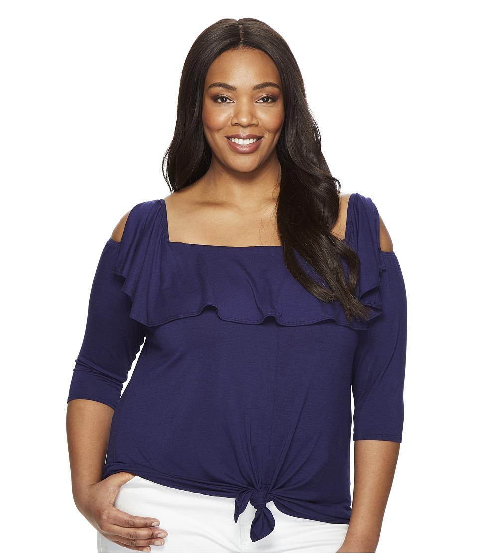 Kiyonna - Kelsey Flounce Top (Navy) Women's Clothing