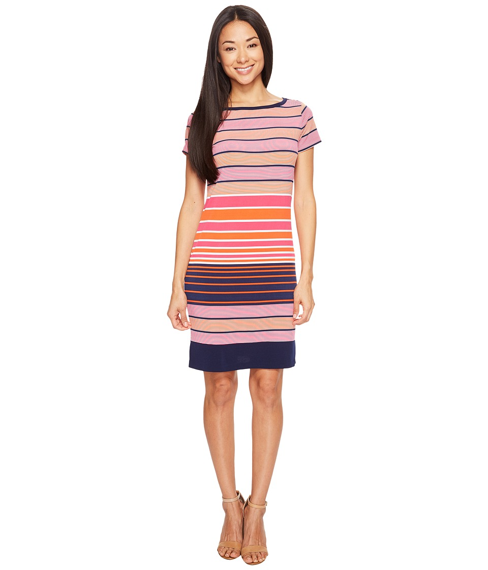 MICHAEL Michael Kors - Abbey Short Sleeve Boat Neck Border Dress (Mandarin) Women's Dress