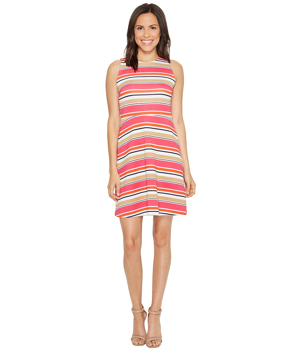 MICHAEL Michael Kors Madison Stripe Flutter Dress (Electric Pink) Women