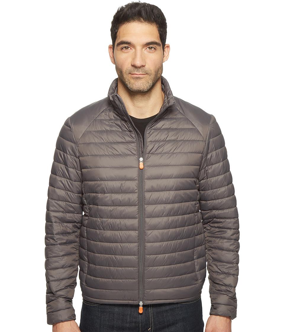 Save the Duck - Non Hooded Basic Nylon Jacket (Charcoal) Men's Coat