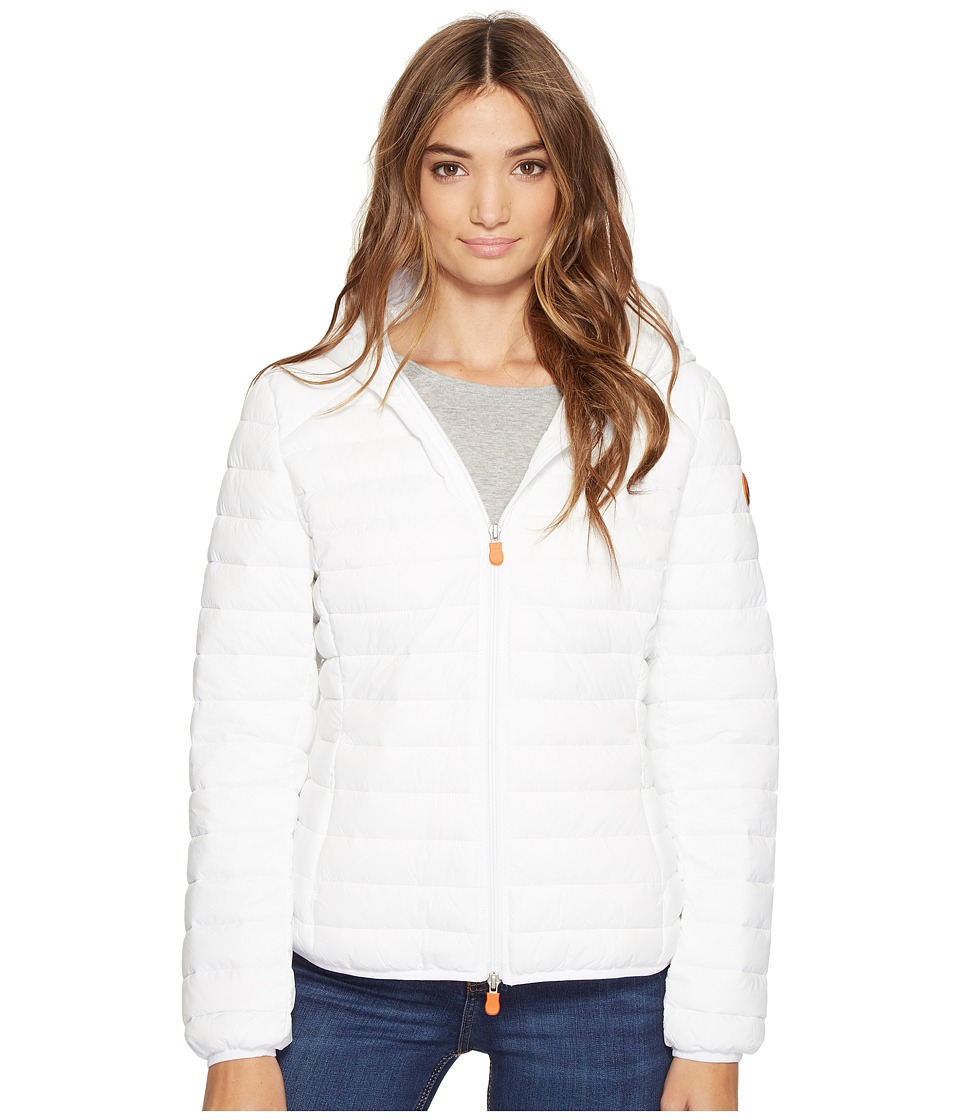 Save the Duck - Basic Hooded Nylon Jacket (White) Women's Coat