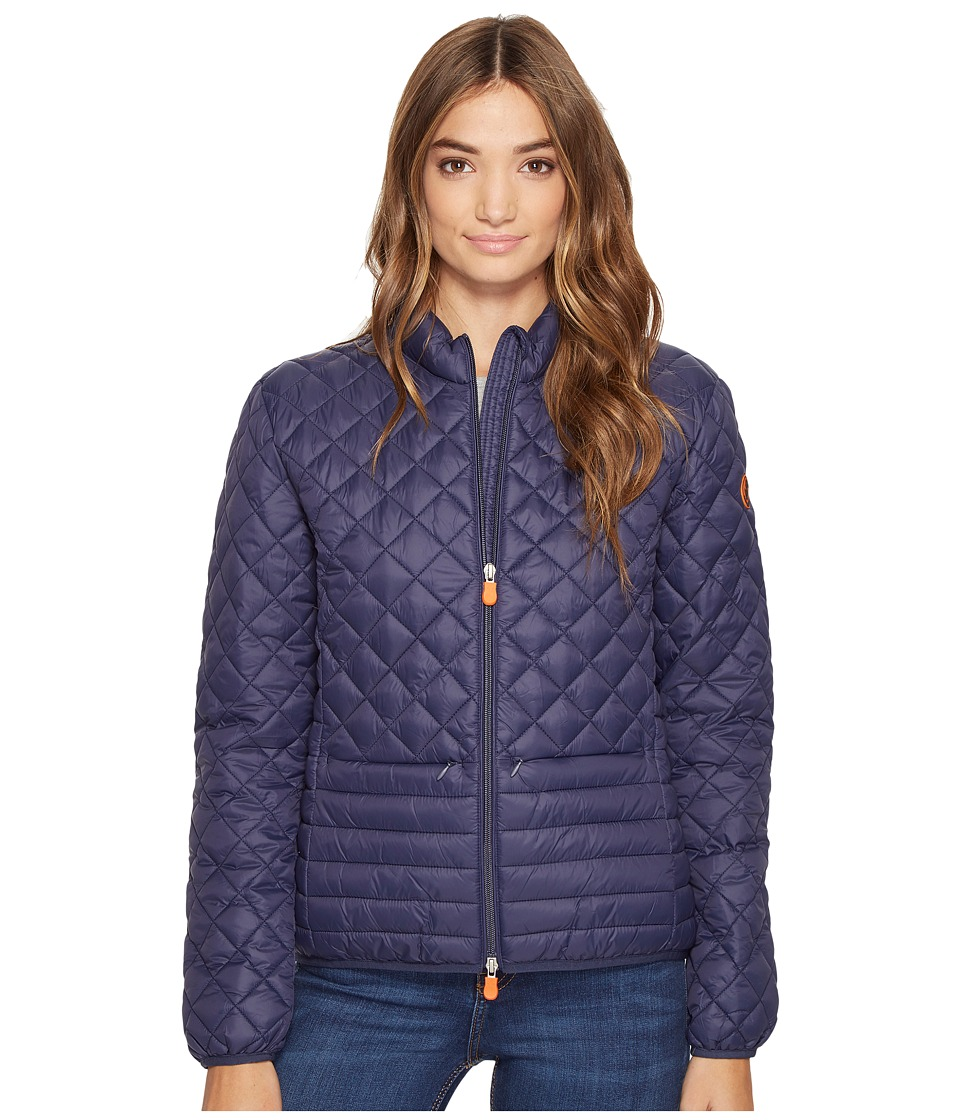 Save the Duck - Non Hooded Chanel Panel/Diamond Quilting with Two Front Pockets Jacket (Navy) Women's Coat