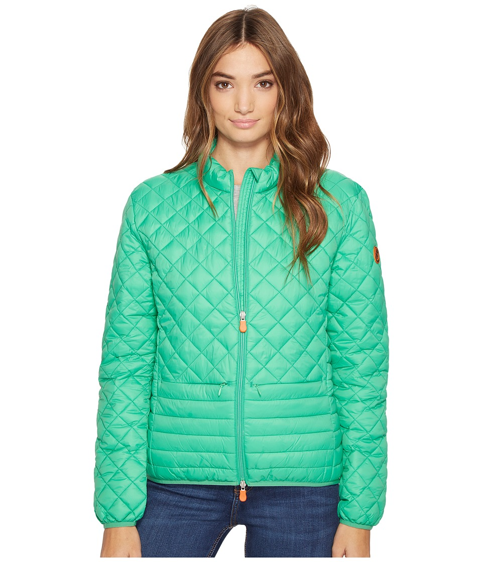 Save the Duck - Non Hooded Chanel Panel/Diamond Quilting with Two Front Pockets Jacket (Bright Green) Women's Coat