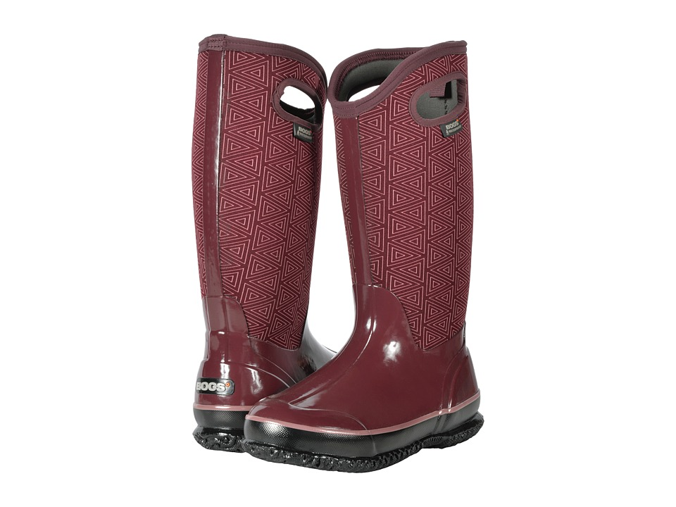Bogs Classic Tall (Plum Multi Triangles) Women
