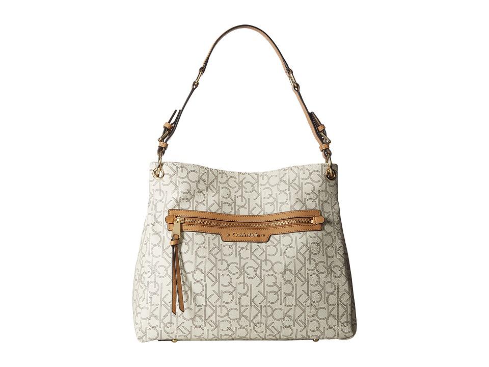 Calvin Klein - Hudson Monogram Hobo (Almond/Khaki/Cashew) Hobo Handbags