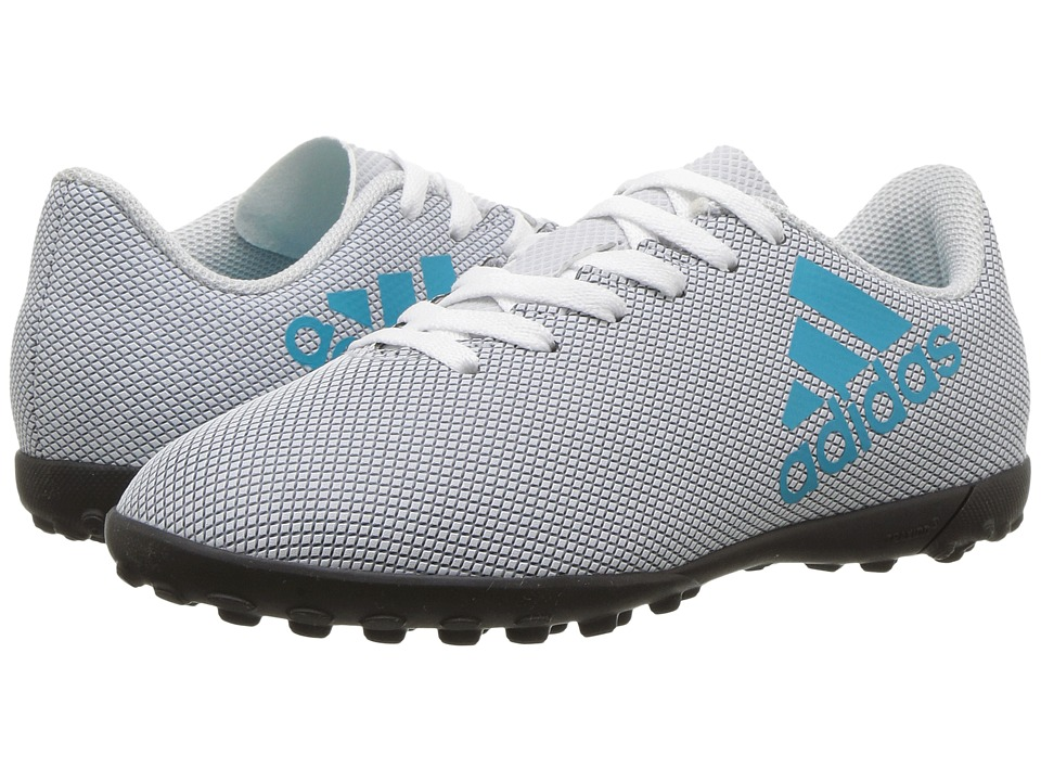 adidas Kids - X 17.4 TF J Soccer (Little Kid/Big Kid) (Footwear White/Energy Blue/Clear Grey) Kids Shoes