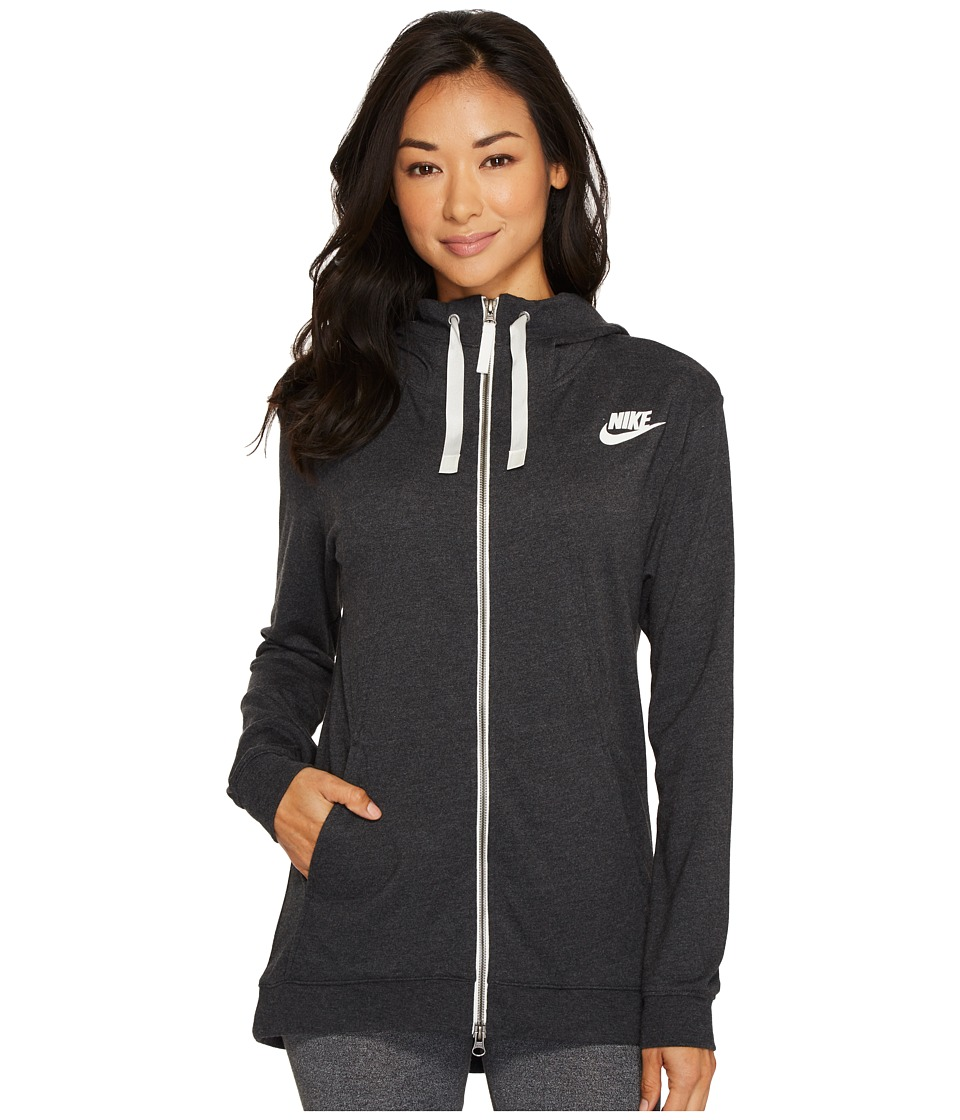 Nike Sportswear Gym Classic Full Zip Hoodie (Black/Heather/Sail) Women