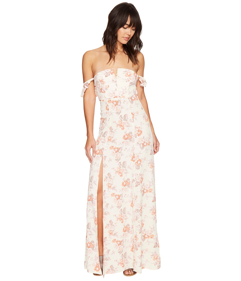 Flynn Skye - Bardot Maxi Dress (Cream Blossoms) Women's Dress