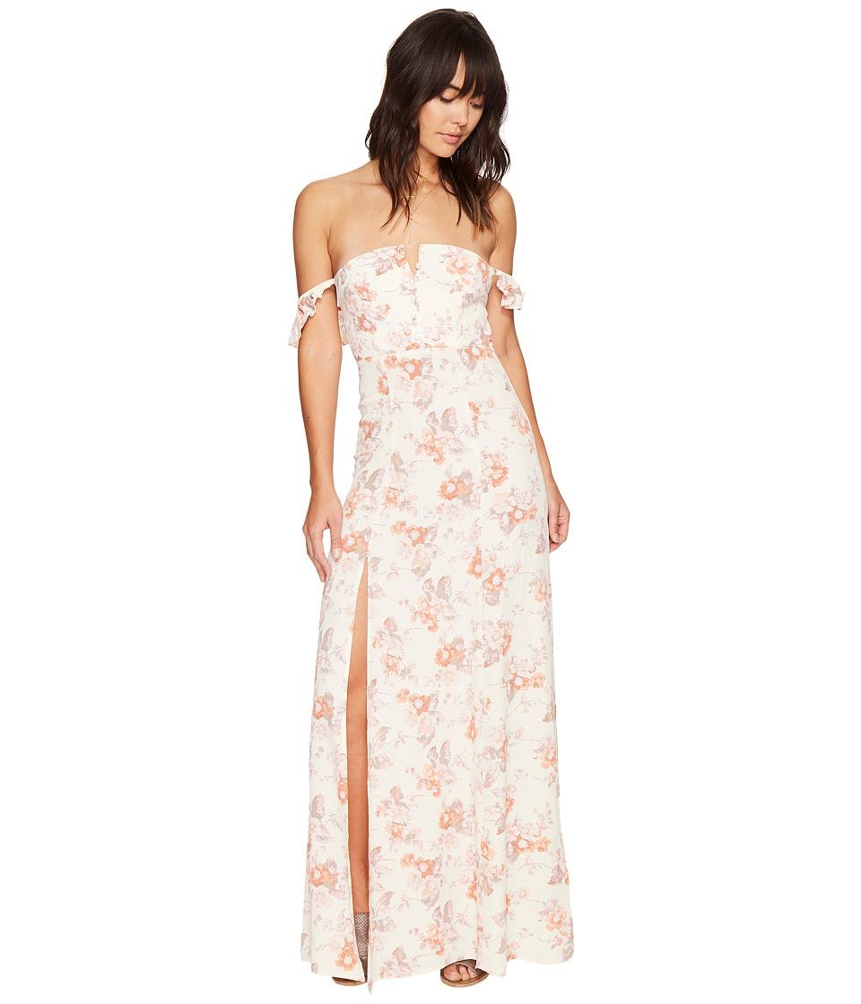Flynn Skye - Bardot Maxi Dress (Cream Blossoms) Women's Dress