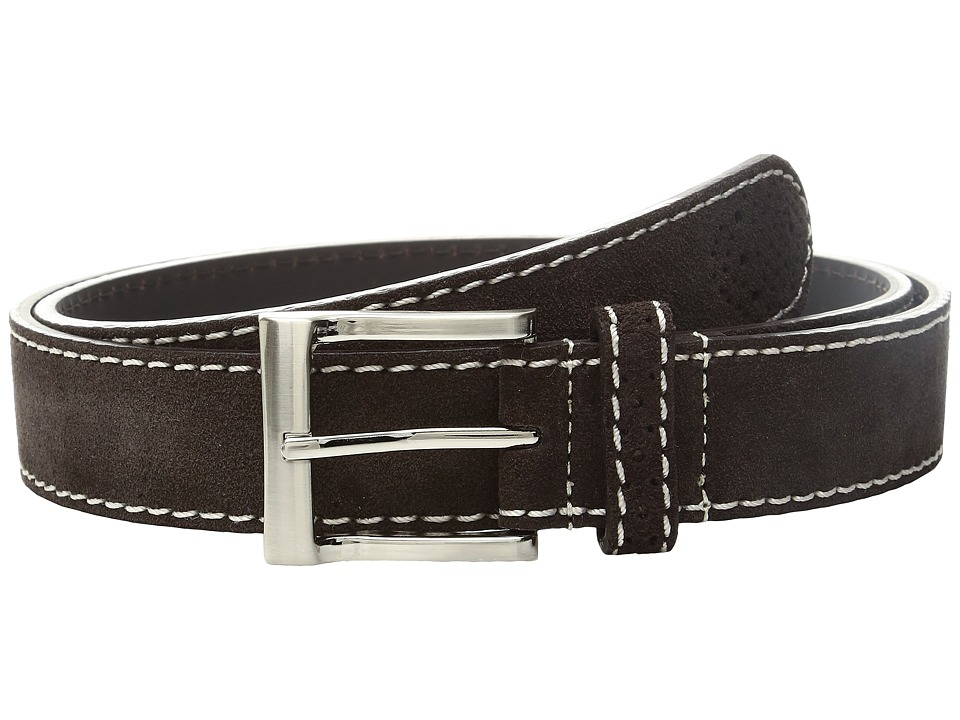Florsheim - 32mm Suede Belt (Chocolate) Men's Belts