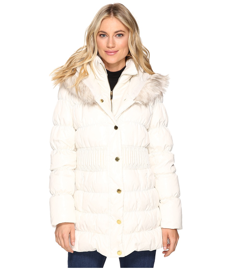 Via Spiga - Down Coat w/ Winter White Faux Fur Trim (Ivory) Women's Coat