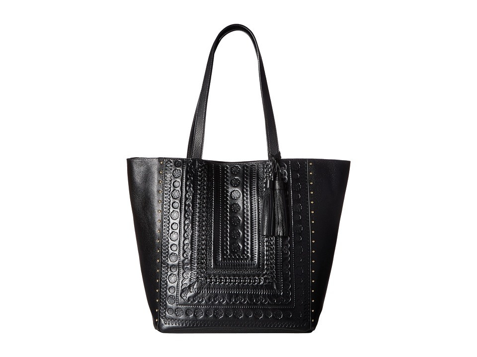 Steven - Leather Embossed Tote (Black) Tote Handbags