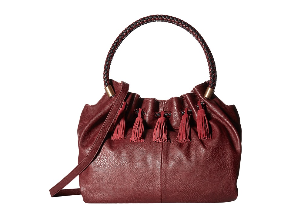 Steven - Slouchy Satchel with Real Suede Tassel (Wine) Satchel Handbags
