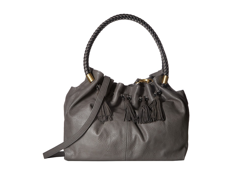 Steven - Slouchy Satchel with Real Suede Tassel (Charcoal) Satchel Handbags