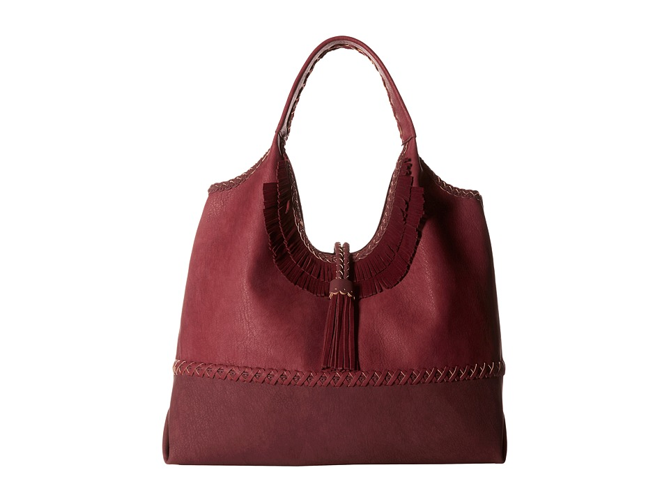 Steven - Fringe Tobo with Real Suede Trim/Tassel (Berry) Handbags
