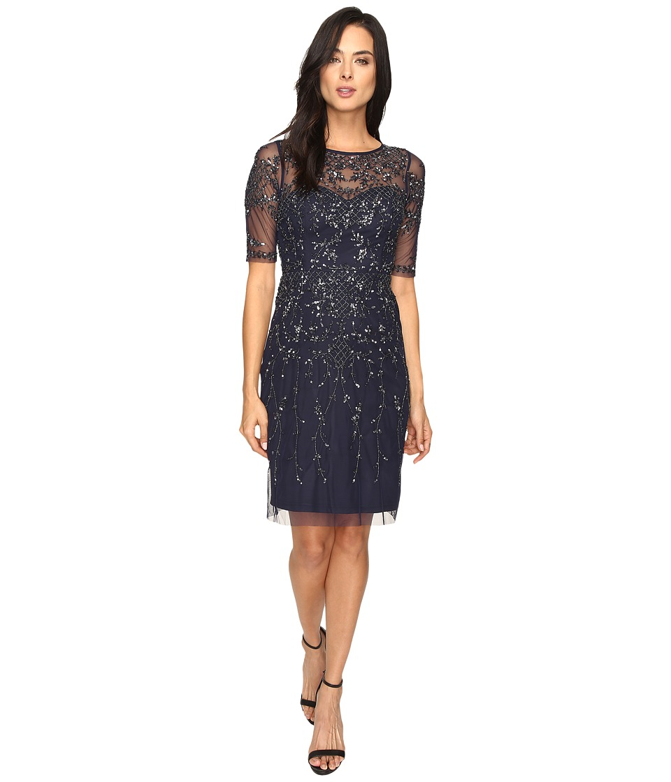 Adrianna Papell - 3/4 Sleeve Fully Beaded Cocktail Dress (Navy) Women's Dress