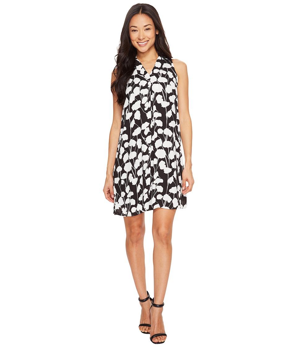 Vince Camuto Specialty Size Petite Sleeveless Elegant Blossom Invert Pleat Dress (Rich Black) Women