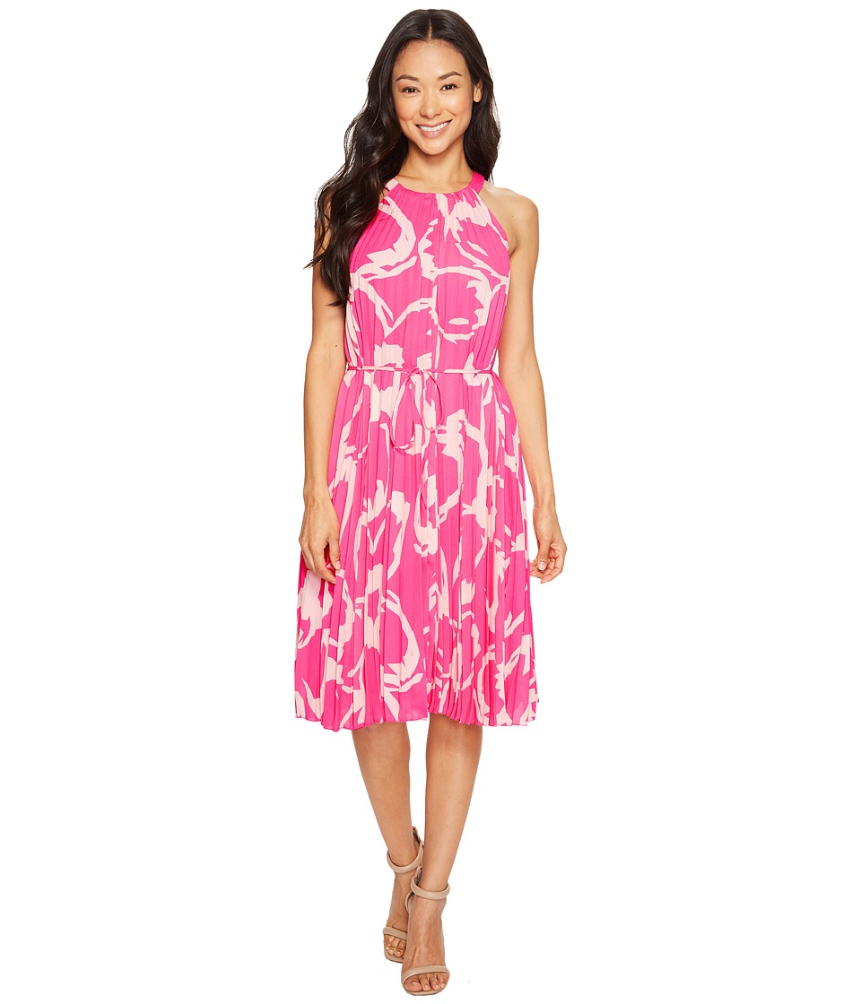 Vince Camuto Specialty Size - Petite Cut Out Floral Pleated Belted Halter Dress (Electric Pink) Women's Dress