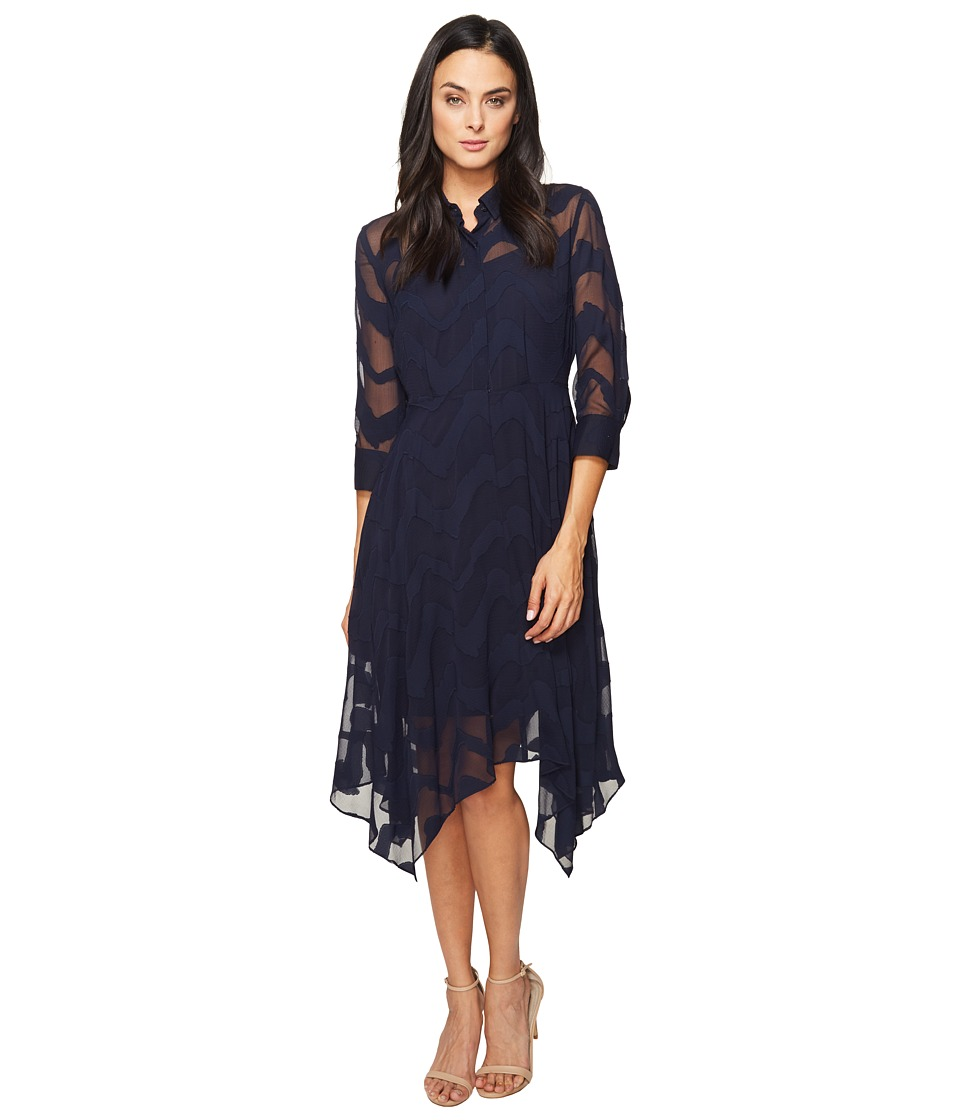 Donna Morgan - Chiffon Jacquard Shirtdress with Handkerchief Hem (Marine Navy) Women's Dress