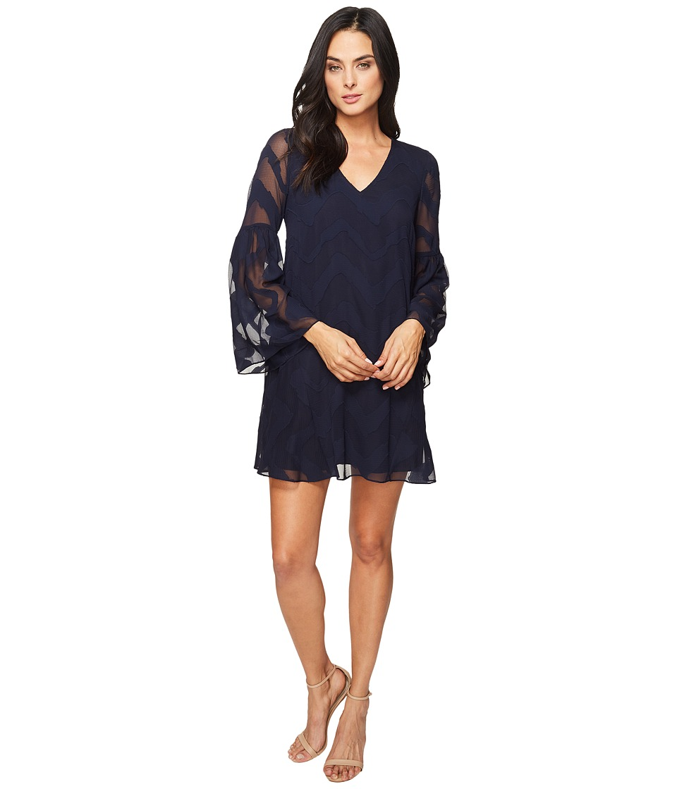 Donna Morgan - Bell Sleeve Chiffon Jacquard Tent Dress (Marine Navy) Women's Dress